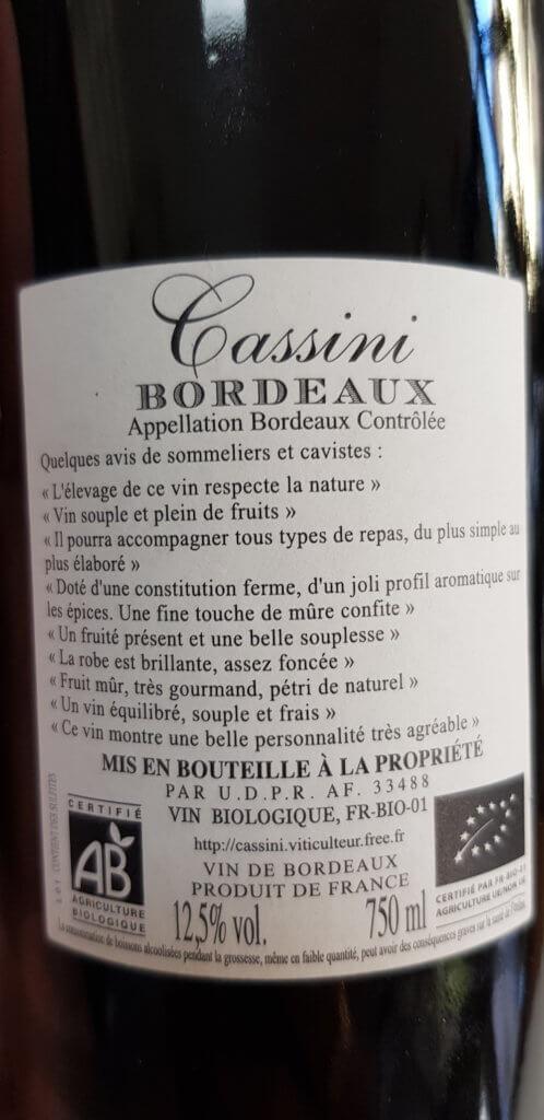 Bouteille de vin, Cassini de Bordeaux