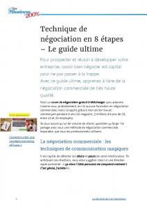 Technique de négociation en 8 étapes, guide ultime gratuit à télécharger