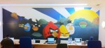 Angry birds wall in open space office